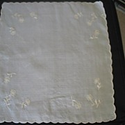 "Vintage Silk Hand Embroidered Hankie Letter ""A"" Sewn In Side"
