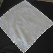 Sheer Lawn Hankie With  Delicate Embroidered Scalloped Edging