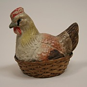 Antique Folk Art Chicken Papier Mache Candy Container Circa 1900's