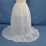 Antique Sheer Muslin Long Petticoat Circa 1900s