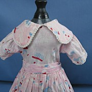 Vintage Pink Printed Dress For Your 1940's Composition  Doll