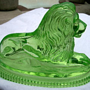 REDUCED John Derbyshire Pressed Glass Uranium Lion 1874