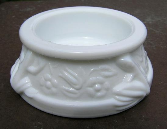 Milk Glass Open Salt with Frogs LIMITED EDITION