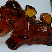 REDUCED Imperial Amber Glass Bulldog Figurine Imperial Glass
