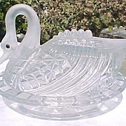 Satin Crystal Block Swan Covered Dish 1880's Challinor Taylor