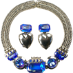 ZOE COSTE, France Cobalt Aurora Borealis Necklace and Heart Pendant Clip Earrings Set