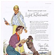 1954 Ad - PEPSI-COLA - 'Beach Blanket Couple w/ Poodle Dog'