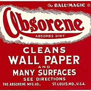 "SIX Vintage LABELS - 'Absorene' Brand Cleaner ~ ""The Ball of Magic"""