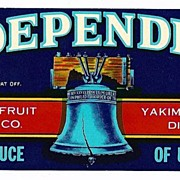 Vintage Fruit CRATE LABEL - 'Independent' Brand Cherries ~ Liberty Bell Motif