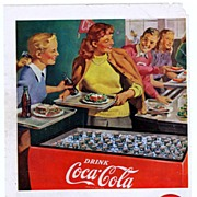 1948 Ads - Coca-Cola COKE - 'School Cafeteria' / Chesterfield Cigarettes  - w/ Hitchcock Film