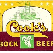 THREE Vintage BEER Labels - Cook's Bock Beer ~ Evansville, Indiana Brewery ~ c.1950s