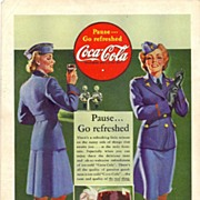 1942 Ads - Coca-Cola COKE - 'WWII U.S. Service Women' / NASH-Kelvinator - 'Fighter Plane' (on
