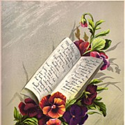 Antique PRINT - 'Red & Brown Heartsease PANSIES' ~ Victorian Chromolithograph c.1880s