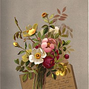 Antique PRINT - 'Brier ROSES' ~ Victorian Chromolithograph c.1880s
