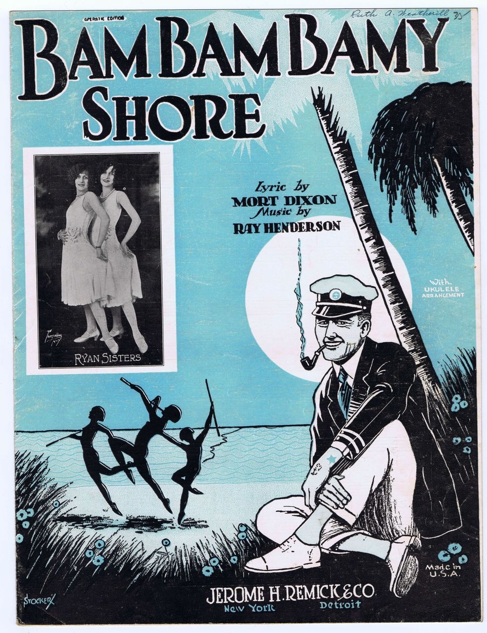 'Bam Bam Bamy Shore' - feat. Ryan Sisters - c.1920s SHEET MUSIC