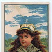 Antique PRINT - 'The Sailor Girl' - Small Victorian Chromolithograph c.1880s