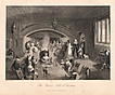 Antique PRINT - 'The Baron's Hall at Christmas' - 19th Century Engraving c.1840s
