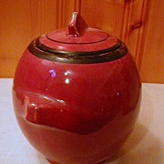McCoy Maroon Cookie or Biscuit Jar Art Deco Shape 1930s