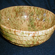 SALE Morton Pottery Yelloware Bowl Woodland Rockingham Glaze