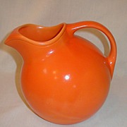 REDUCED Homer Laughlin Harlequin Red Orange Ball Pitcher