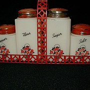 Tipp Range Shakers Set Large Basket of Flowers Red & Black