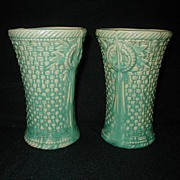 Pair of McCoy Basketweave Gloss Aqua Green Vases
