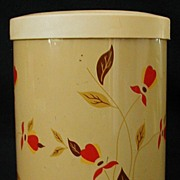 SALE Jewel Tea Hall China Metal Canister Candy Tin Autumn Leaf Pattern