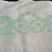 Embroidered Pair Standard Size Pillow Cases Pale Green