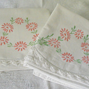 Hand Embroidered Pillow Cases Peach & Green Crochet Scallop Border