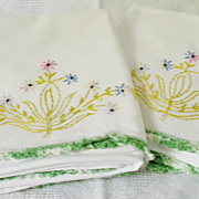 Hand Embroidered Pillow Cases Floral Pattern Variegated Crochet Border