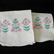 Vintage Floral Pink, Blue, Turquoise Embroidered Pillowcases