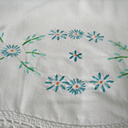 Vintage Hand Embroidered Floral Pillowcases Pillow Cases Hand Crochet Edge