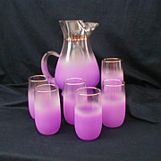 West Virginia Glass Blendo Lavender Frosted Lemonade Pitcher and Glasses with Gold Trim