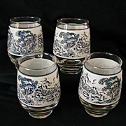 Blue & White Countryside 4 Glass Tumblers Libbey