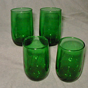 Anchor Hocking Vintage Forest Green Juice Glasses Set of 4 Roly Poly