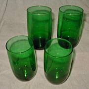 Anchor Hocking Vintage Forest Green Milk Water Drinking Glasses Set of 4 Roly Poly