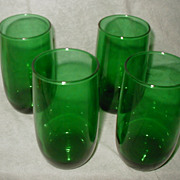 Anchor Hocking Vintage Forest Green Water Tea Lemonade Drinking Glasses Set of 4 Roly Poly