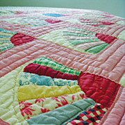 Vintage 1940 Fan Quilt Hand Quilted & Pieced