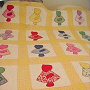 Vintage Sun Bonnet Sue Hand Quilted Hand Pieced Quilt