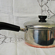 Vintage Revere Ware 2 Quart Copper Clad Stainless Steel Pot Pan