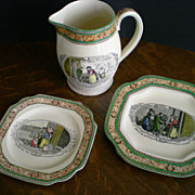 "Adams & Sons ""Cries of London"" Earthenware Pitcher and Octagonal Plates"