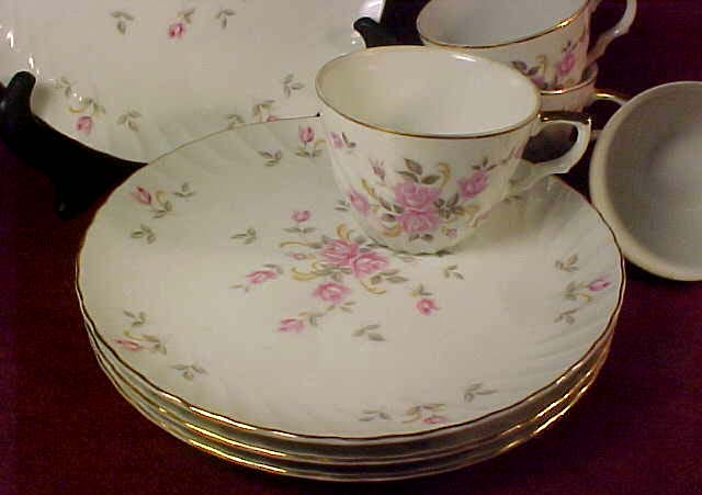 Lefton Snack Set #3171, Moss Rose, c. 1955