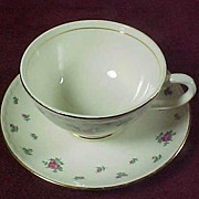 Homer Laughlin's Rambler Rose Georgian Eggshell Cup and Saucer (3 available)