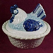 SALE Metlox Blue Poppytrail Hen on Nest Casserole, 1950s - HTF