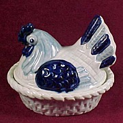 SALE Metlox Blue Poppytrail Smaller Hen on Nest Casserole, 1950s -- HTF