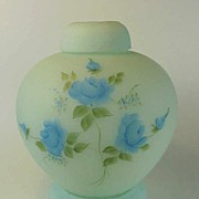 SALE Fenton's #7288BL Ginger Jar with Blue Roses, 1978-82