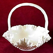 "SALE Fenton Milk Glass Hobnail Double Crimped 12"" Basket #3734MI"