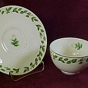 "Hall China ""Cameo Rose"" Cup and Saucer (5 available)"