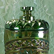 SALE Imperial's Green (Helios) Carnival Covered Jar