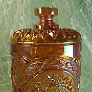 SALE Imperial Hobstar Rubigold Small Covered Jar #282/1